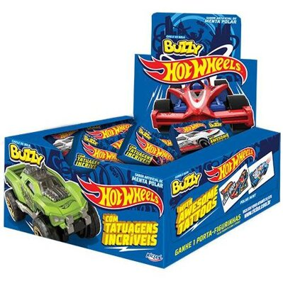HOT WHEELS BLUE 400g mentolové žuvačky (cena za display/100ks)